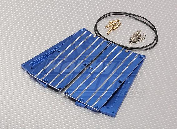 Conseil de refroidissement bleu eau en aluminium de la batterie (2pcs)