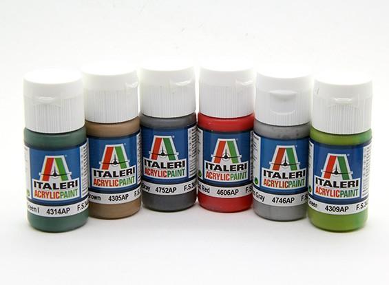 Italeri Peinture acrylique Set (Flat) - VTT Et les navires (6pc)