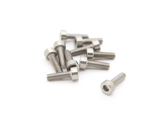 Titanium M3 x 10 Hex Vis six pans (10pcs / bag)