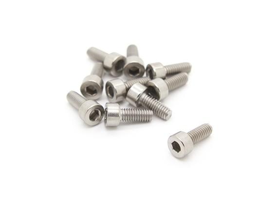 Titanium M4 x 10 Hex Vis six pans (10pcs / bag)