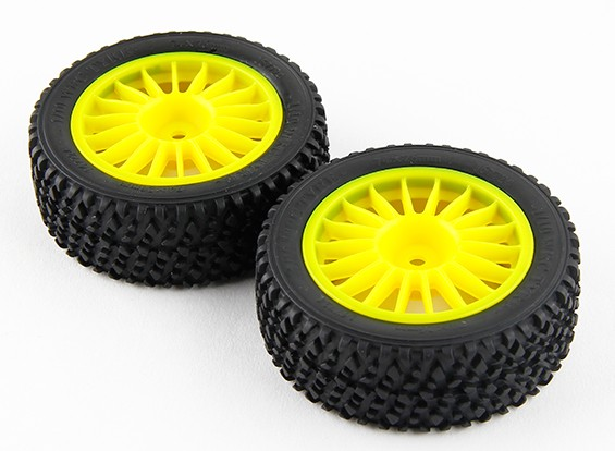 Basher RZ-4 1/10 Rally Racer - 26mm Complete Front Tire Set - Jaune (2pc)