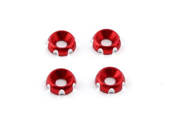 Aluminium 3mm CNC fraisée Rondelle - Rouge (4pcs)