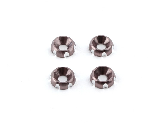Aluminium 3mm CNC fraisée Rondelle - Argent (4pcs)