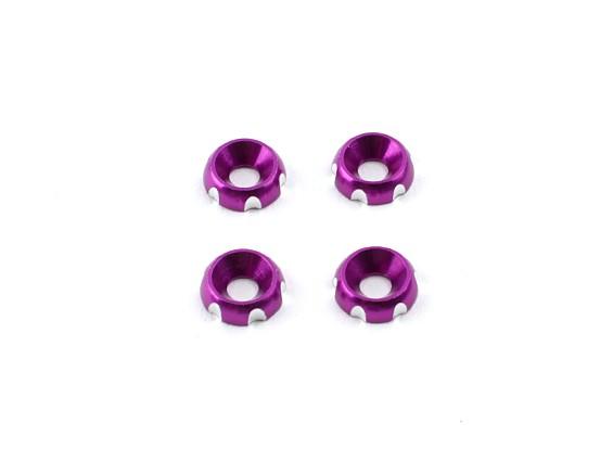 Aluminium 3mm CNC fraisée Rondelle - Violet (4pcs)