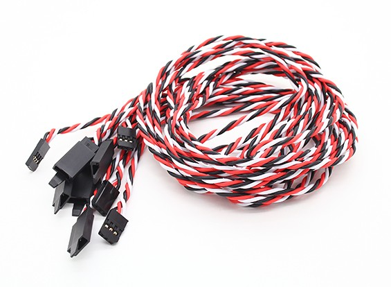 Twisted 100cm Servo Extention Lead (Futaba) avec crochet 22AWG (5pcs / bag)
