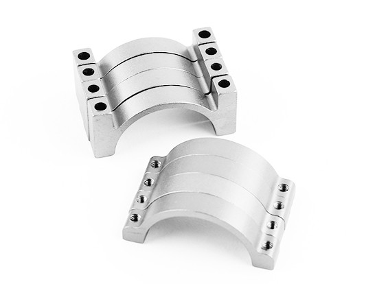 Argent anodisé double face CNC en aluminium Tube Clamp 25mm Diamètre