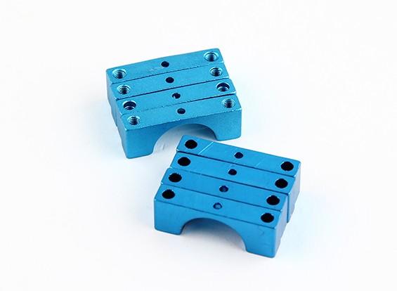 Bleu anodisé double face CNC en aluminium Tube Clamp 14mm Diamètre