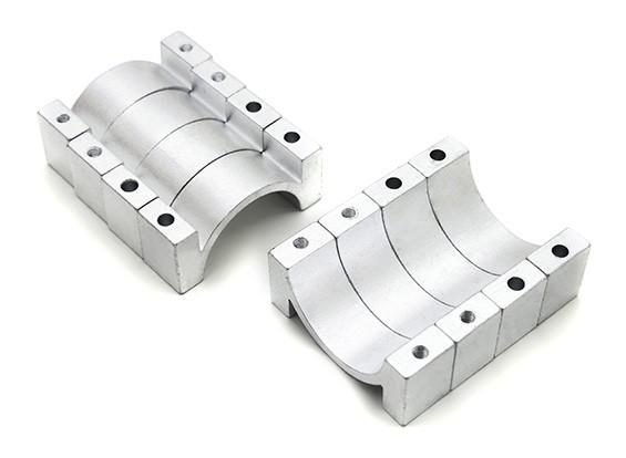 Argent anodisé Double 10mm Sided CNC en aluminium Tube Clamp 20mm Diamètre (Set of 4)