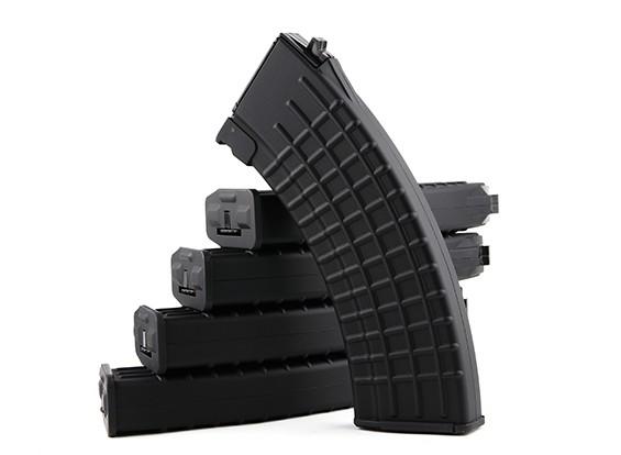 King Arms 600rounds Waffle Motif magazines pour Marui AK AEG (Black, 5pcs / box)