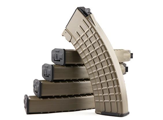 King Arms 600rounds Waffle Motif magazines pour Marui AK AEG (Dark Earth, 5pcs / box)