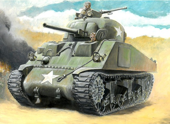 Italeri 1/56 Echelle 1/56 Italeri US M4 Sherman 75mm Kit Plastic Model