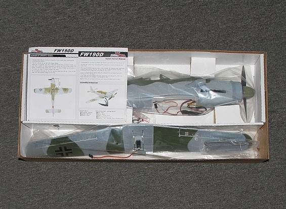 SCRATCH / DENT HobbyKing FW190D w / modèle support EPO 650mm (PNF)