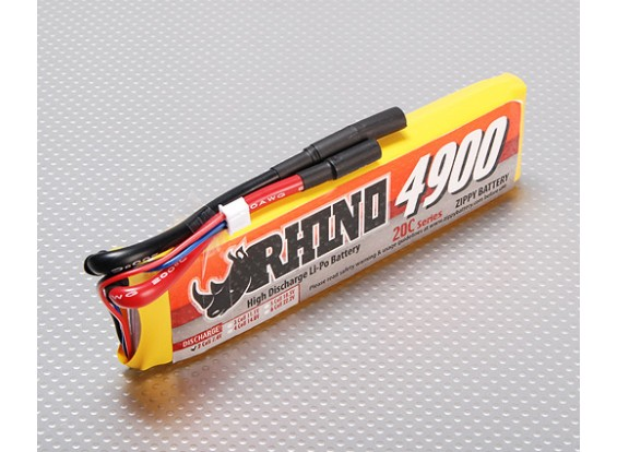 Rhino 4900mAh 2S1P 20C Lipoly Paquet
