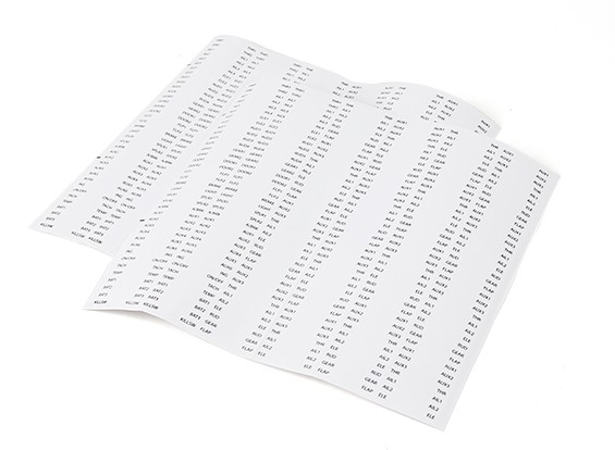 Servo Lead / Receiver Identitfication étiquettes - Set de 444
