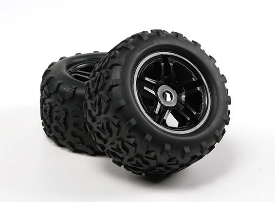 HobbyKing ® ™ 1/8 Chenilles 155mm roues et pneus (Black Rim) (2pc)