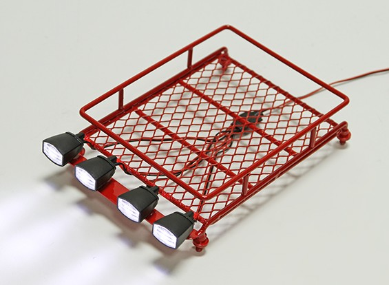 1/10 Roof Rack (Rouge) avec Oval Spotlights