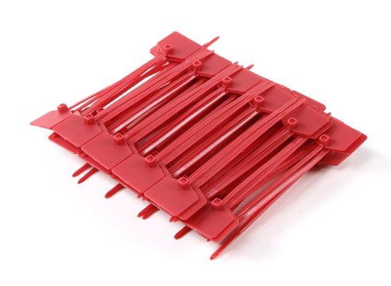 Cable Ties 120mm x 3mm rouge avec marqueur Tag (100pcs)