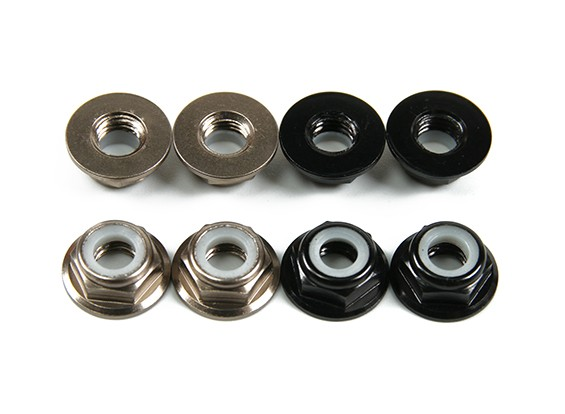 Aluminium Bride Low Profile Nyloc Nut M5 (4 Black CW & 4 Titanium CCW)
