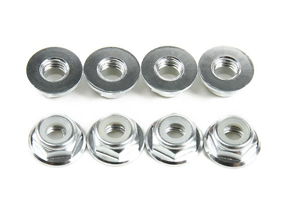 Aluminium Bride Low Profile Nyloc Nut M5 Argent (CW) 8pcs