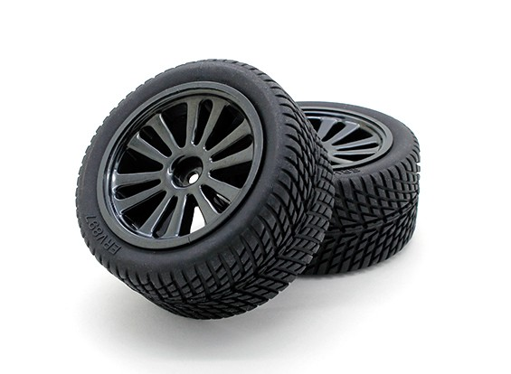 GPM Racing 1/16 Mini E Revo F / R en caoutchouc des pneus radiaux w / Insert (40g) et PLA F / R Jantes (6P) (Noir) (1pr)