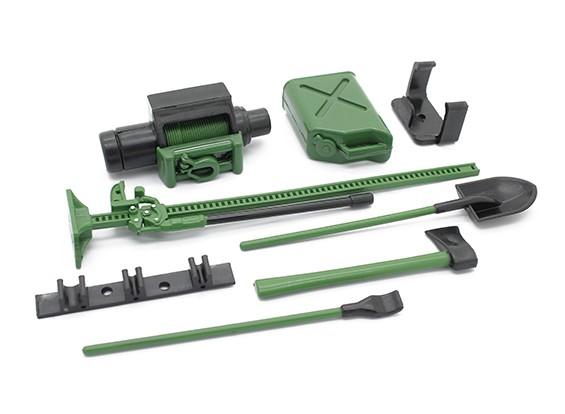 1/10 Échelle Defender Accessory Set avec Dummy Winch - Vert