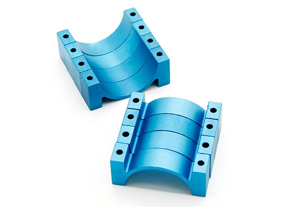 Bleu anodisé CNC DemiCercle alliage Tube Clamp (incl.screws) 14mm