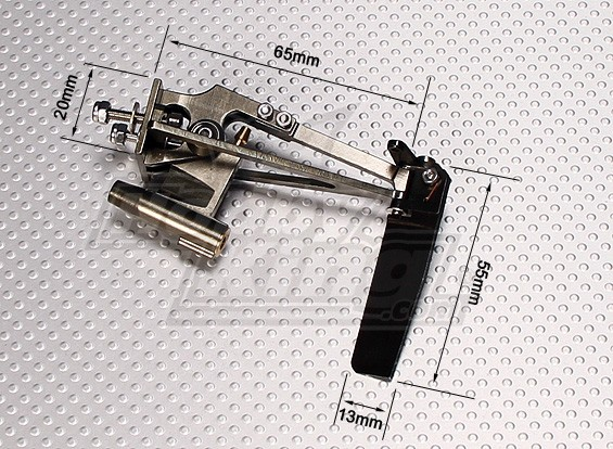 Double Corne anodisée En ligne Strut Rudder w / eau Pick Up (Small)