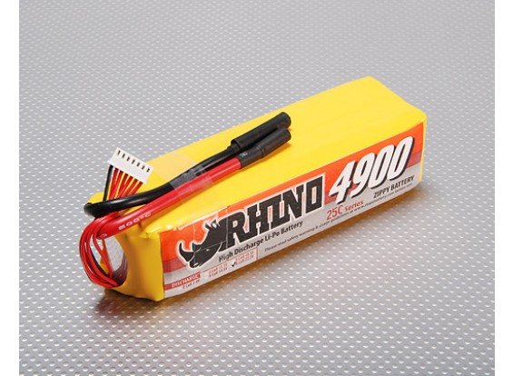 Rhino 4900mAh 6S 22.2V 25C Lipoly Paquet