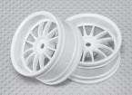 Échelle 1:10 Set de roue (2pcs) Blanc de Split 6-Spoke RC 26mm de voiture (3mm offset)