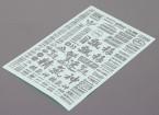 Auto-adhésif Decal Sheet - Caractère 1/10 Scale (Argent)