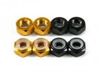 Aluminium Low Profile Nyloc Nut M5 (4 Black CW & 4 Gold CCW)