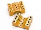 Or anodisé CNC DemiCercle alliage Tube Clamp (incl.screws) 12mm