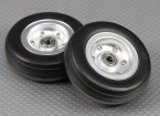 70mm Roue Echelle Jet / Warbird alliage w / Rainure Rubber Tire / sur roulements (2pc)