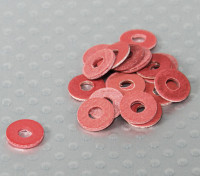 Red Fiber Isolation rondelle 8mm OD - 3mm ID 20 Piece Bag