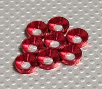 Fraisée Rondelle en aluminium anodisé M5 (Rouge) (8pcs)
