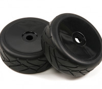 1/8 Echelle Noir Dish Roues Pro Avec Semi style Slick Pneus (2pc)