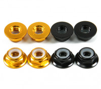 Aluminium Bride Low Profile Nyloc Nut M5 (4 Black CW & 4 Gold CCW)