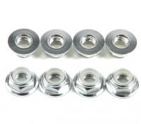 Aluminium Bride Low Profile Argent Nyloc Nut M5 (CCW) 8pcs