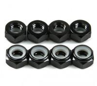 Aluminium Low Profile Nyloc Nut M5 Noir (CW) 8pcs