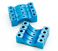 Bleu anodisé CNC DemiCercle alliage Tube Clamp (incl.screws) 14mm