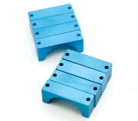 Bleu anodisé CNC DemiCercle alliage Tube Clamp (incl.screws) 28mm