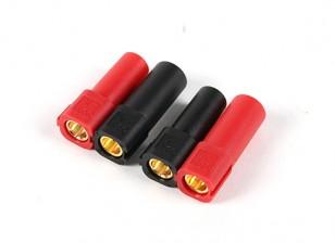 XT150 Connecteurs w / 6mm or Connecteurs - rouge et noir (5pairs / sac)