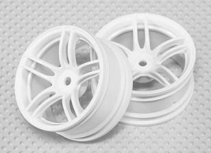 Échelle 1:10 Set de roue (2pcs) Blanc de Split 5-Spoke RC 26mm de voiture (3mm offset)