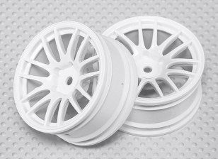 Échelle 1:10 Set de roue (2pcs) Blanc Split 7-Spoke RC 26mm de voiture (3mm offset)