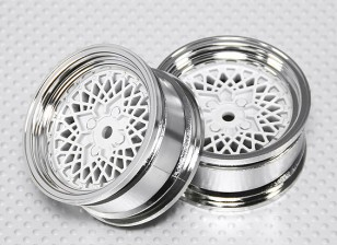 Échelle 1:10 Set de roue (2pcs) Chrome / Blanc 'Hot Wire' RC 26mm de voitures (pas de décalage)