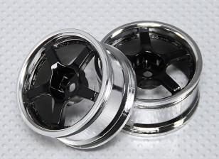 Échelle 1:10 Wheel Set (2pcs) Chrome / Black 5-Spoke RC 26mm de voitures (Pas de décalage)