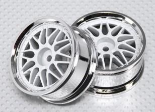 Échelle 1:10 Wheel Set (2pcs) Blanc / Chrome de Split à 10 rayons 26mm de voiture RC (pas de décalage)
