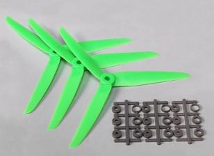 HobbyKing ™ 3-Blade Hélice 7x3.5 Green (CCW) (3pcs)