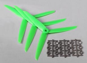HobbyKing ™ 3-Blade Hélice 7x3.5 Green (CW) (3pcs)