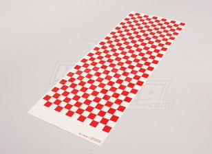 Fiche Decal Petit Chequer Rouge Motif / Clear 590mmx180mm